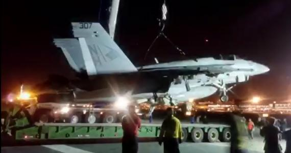 Turk Heavy Transport Remove Crashed F-18 in Bahrain