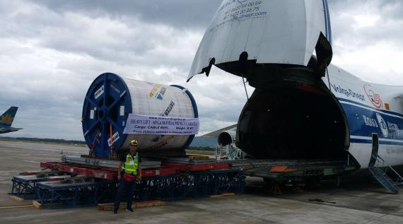 New World Logistics Transport Cable Reels on Antonov 124-100