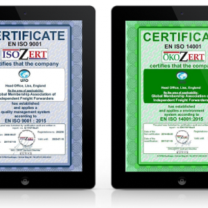 Renewal of UFO ISO 9001 and ISO 14001 Certification